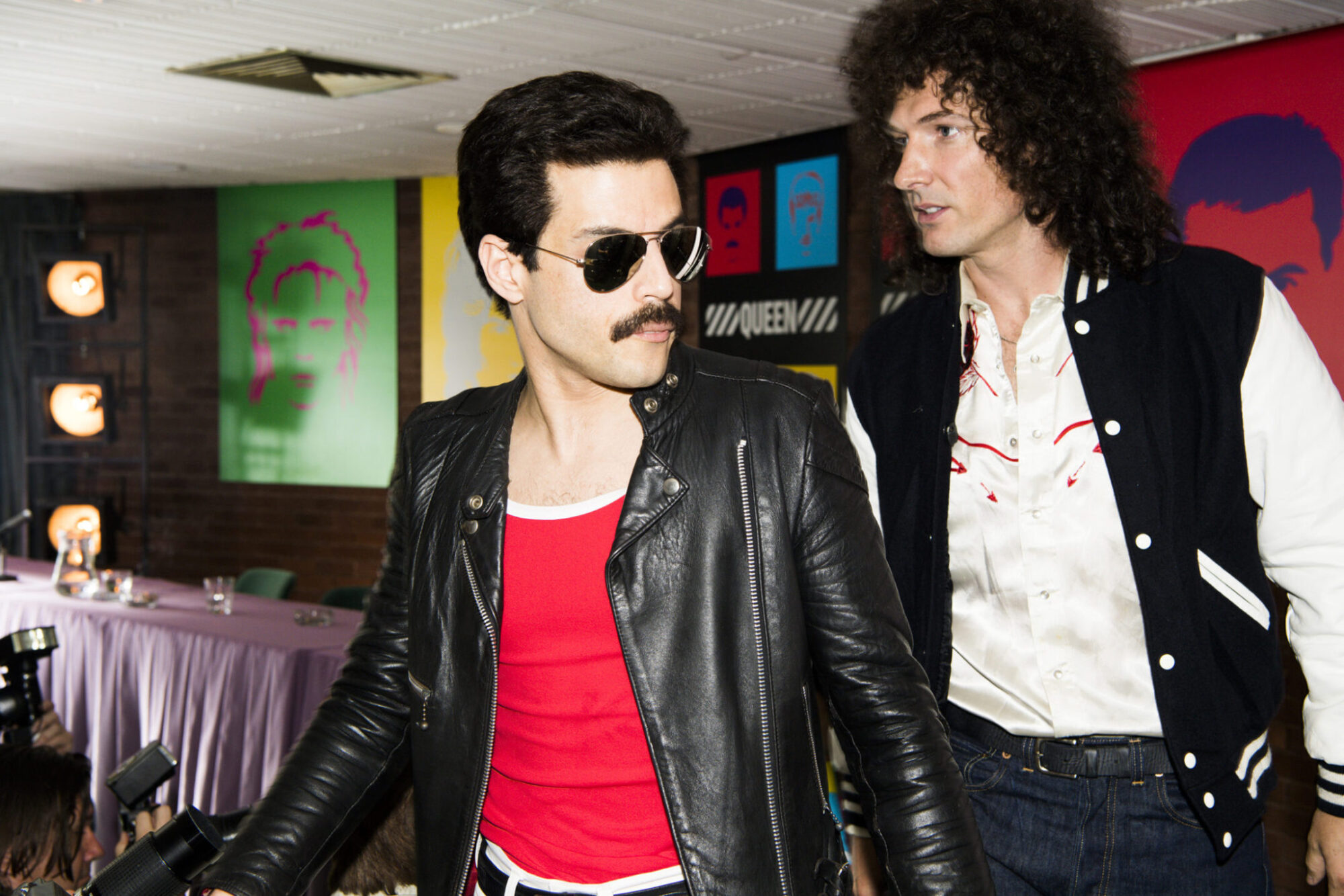 Rami Malek (Freddie Mercury) and Gwilym Lee (Brian May) star in Twentieth Century Fox's BOHEMIAN RHAPSODY. Photo Credit: Alex Bailey