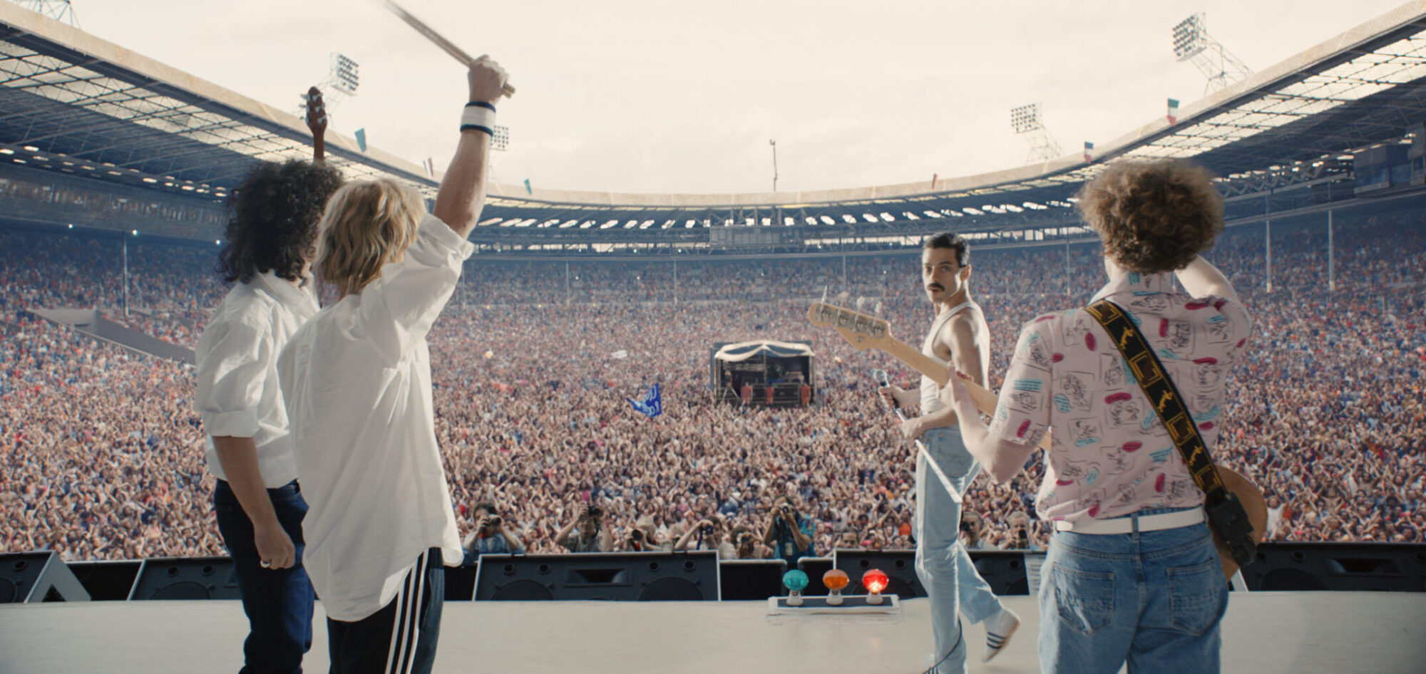 Gwilym Lee (Brian May), Ben Hardy (Roger Taylor), Rami Malek (Freddie Mercury), and Joe Mazzello (John Deacon) star in Twentieth Century Fox's BOHEMIAN RHAPSODY. Photo Credit: Courtesy Twentieth Century Fox.