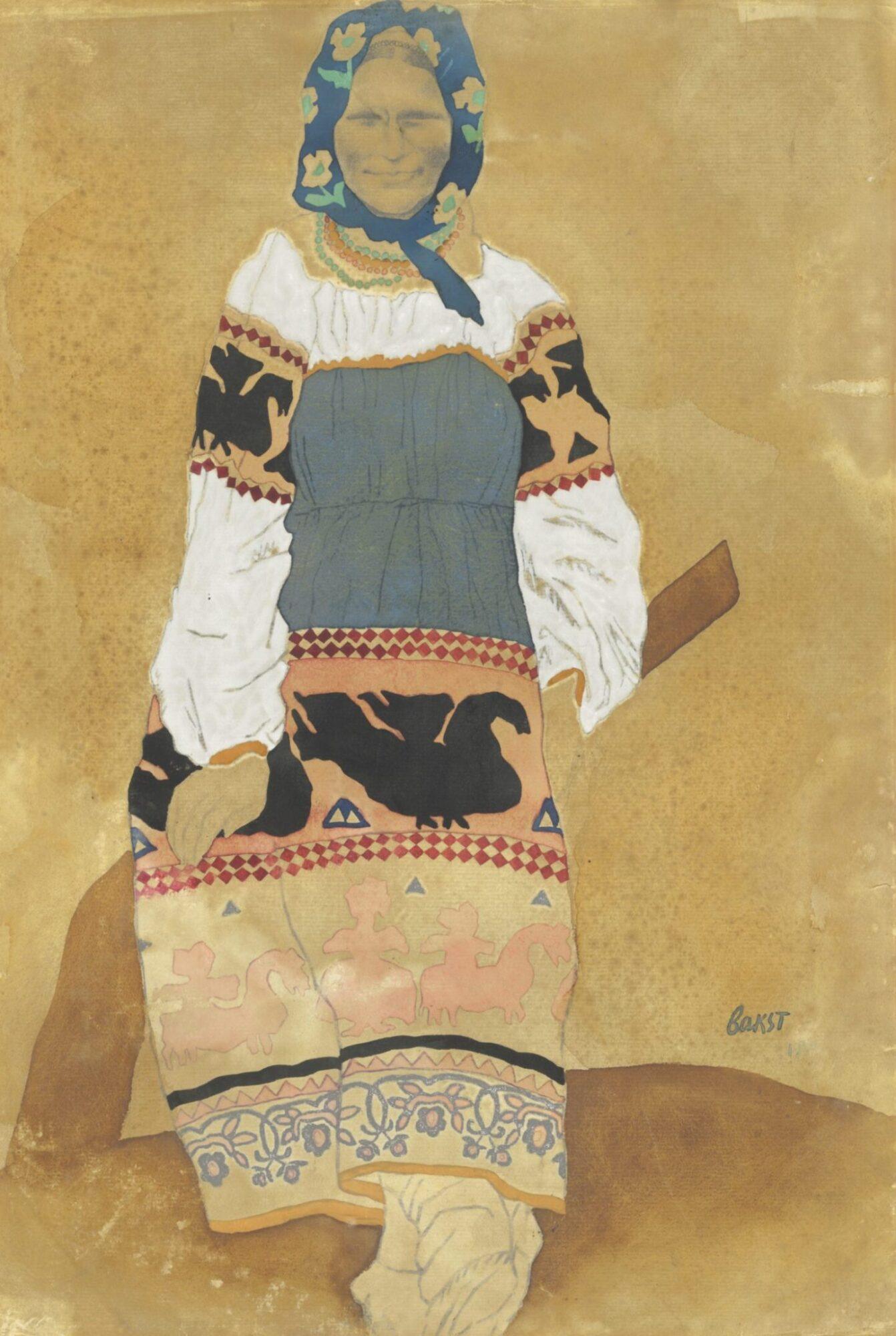 Эскиз костюма крестьянки работы Льва Бакста