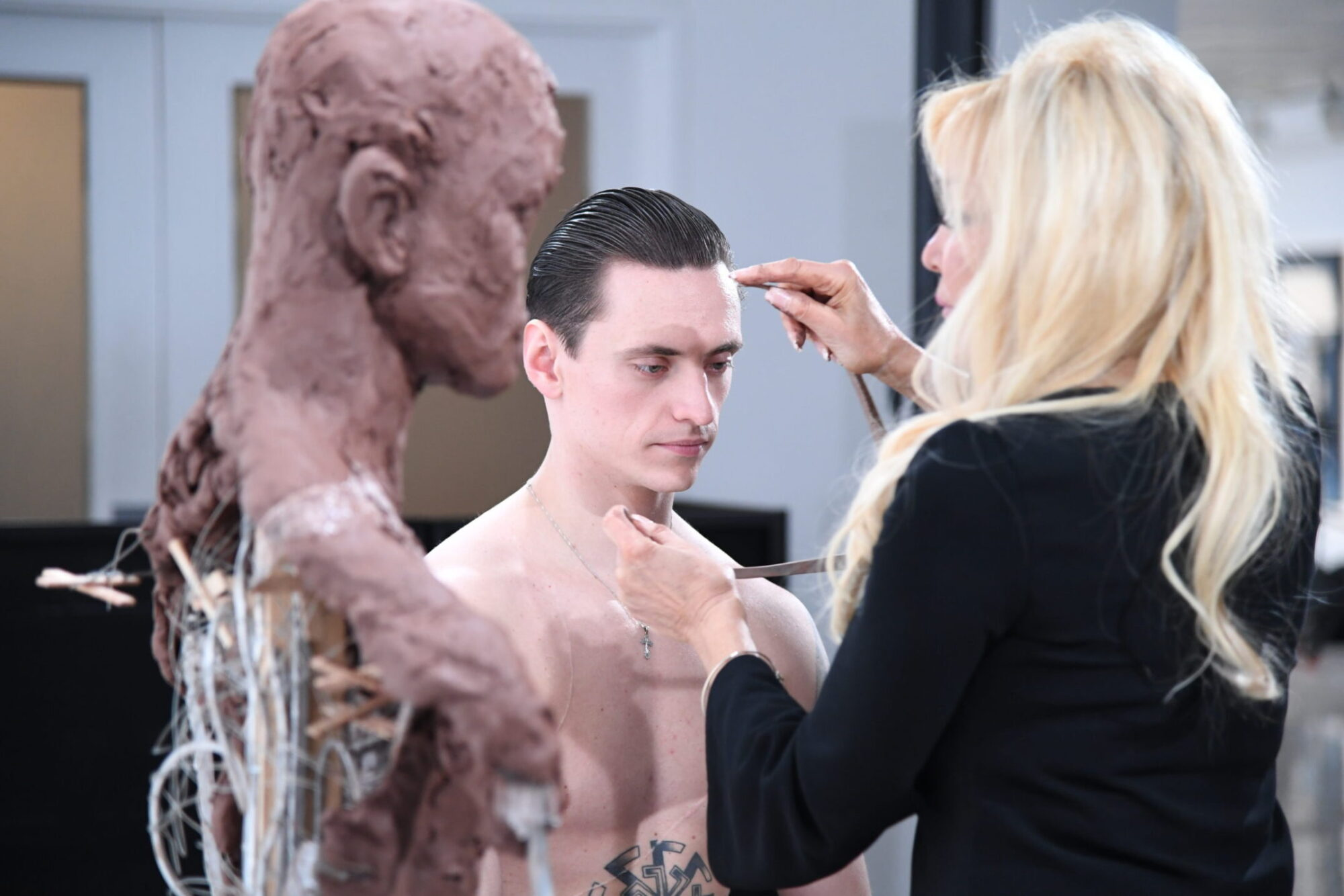 Frances sculpting Sergei