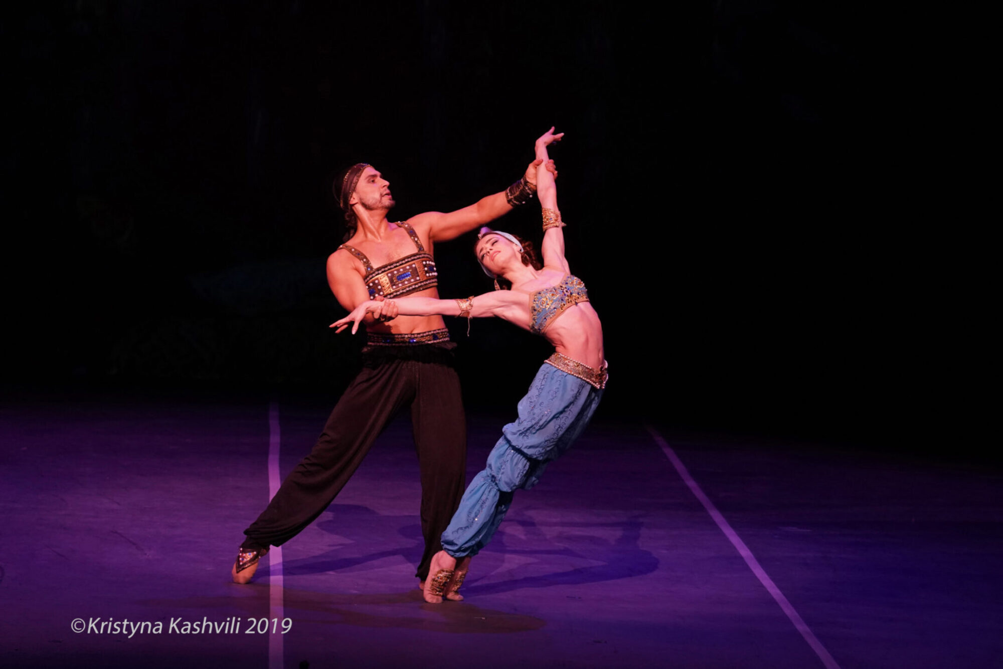 LONDON, ENGLAND - MARCH 31, 2019. Russian Ballet Icons Gala: Ekaterina Krysanova and Ivan Vasiliev in Scheherazade. (Photo by Kristyna Kashvili)
