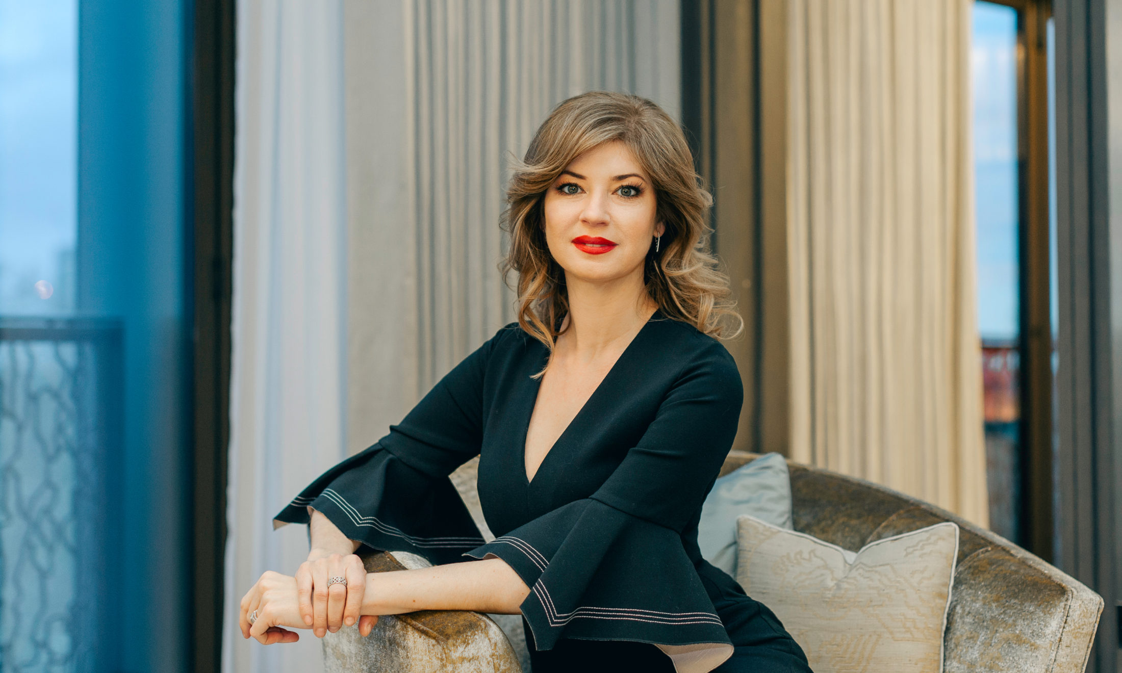 Katya Zenkovich, Photo: Inna Yurchuk-Kostukovsky, Location: Clarges Mayfair, Makeup and Hair: Elena Inozemtseva