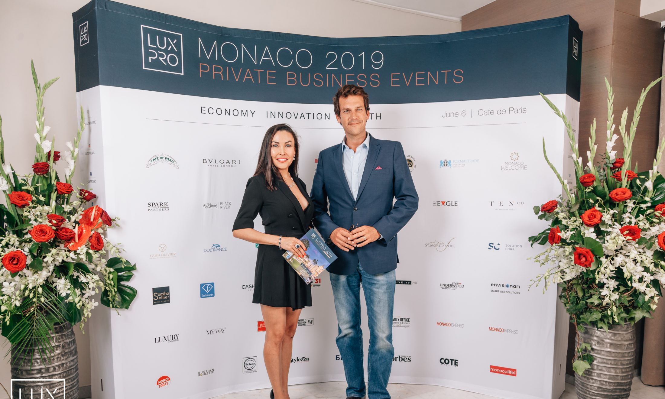 LUXPRO founder Gulshat Uzenbaeva and Christian More, President of the Ambassador's Club