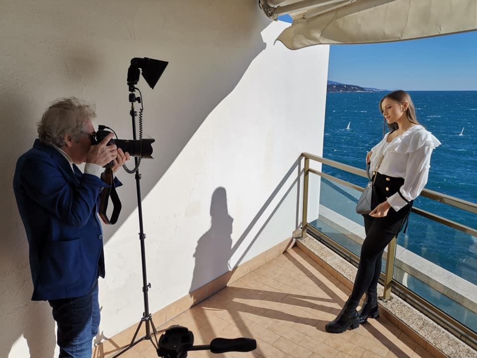 Jean-Daniel Lorieux shooting Charlotte Sine in Monaco for Thalie Paris