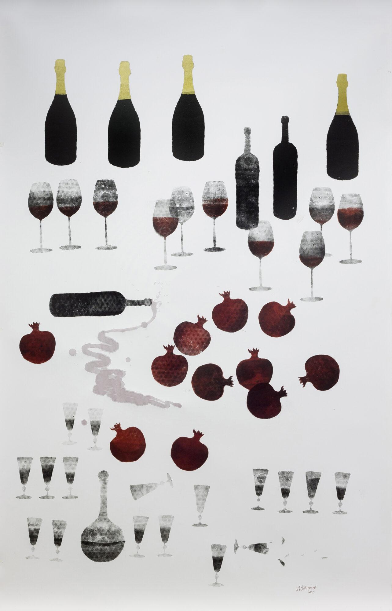 Антон Тотибадзе. Кутёж – III, 2020. Бумага, офортная краска, вино, 198 x 127 см