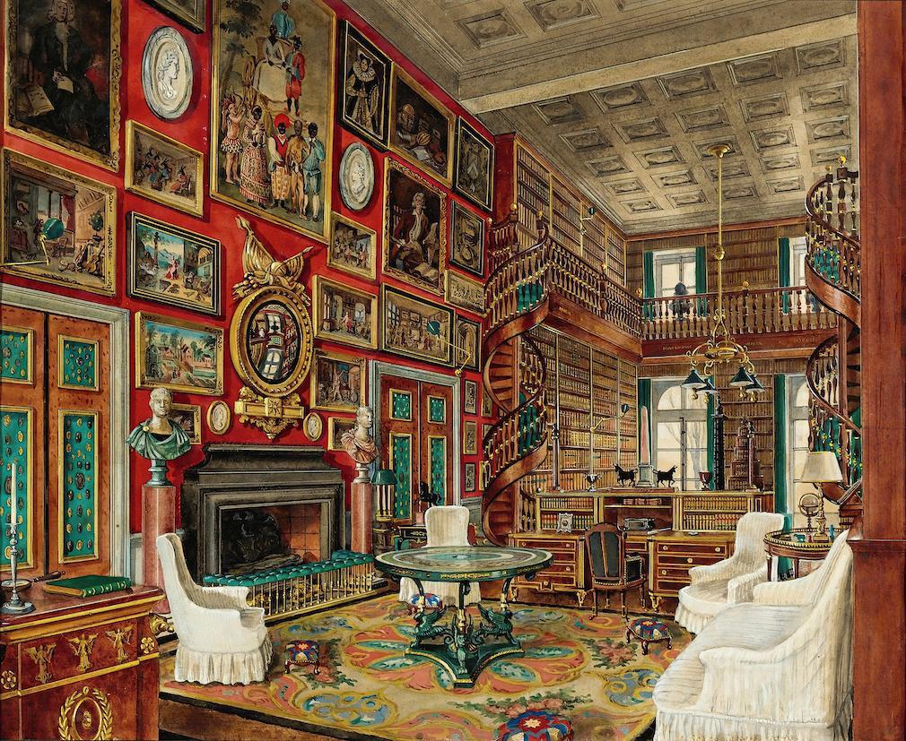 Alexandre Serebriakoff, Interiors of La Chateau De Groussay, La Grande Bibliotheque / Watercolour / Alamy