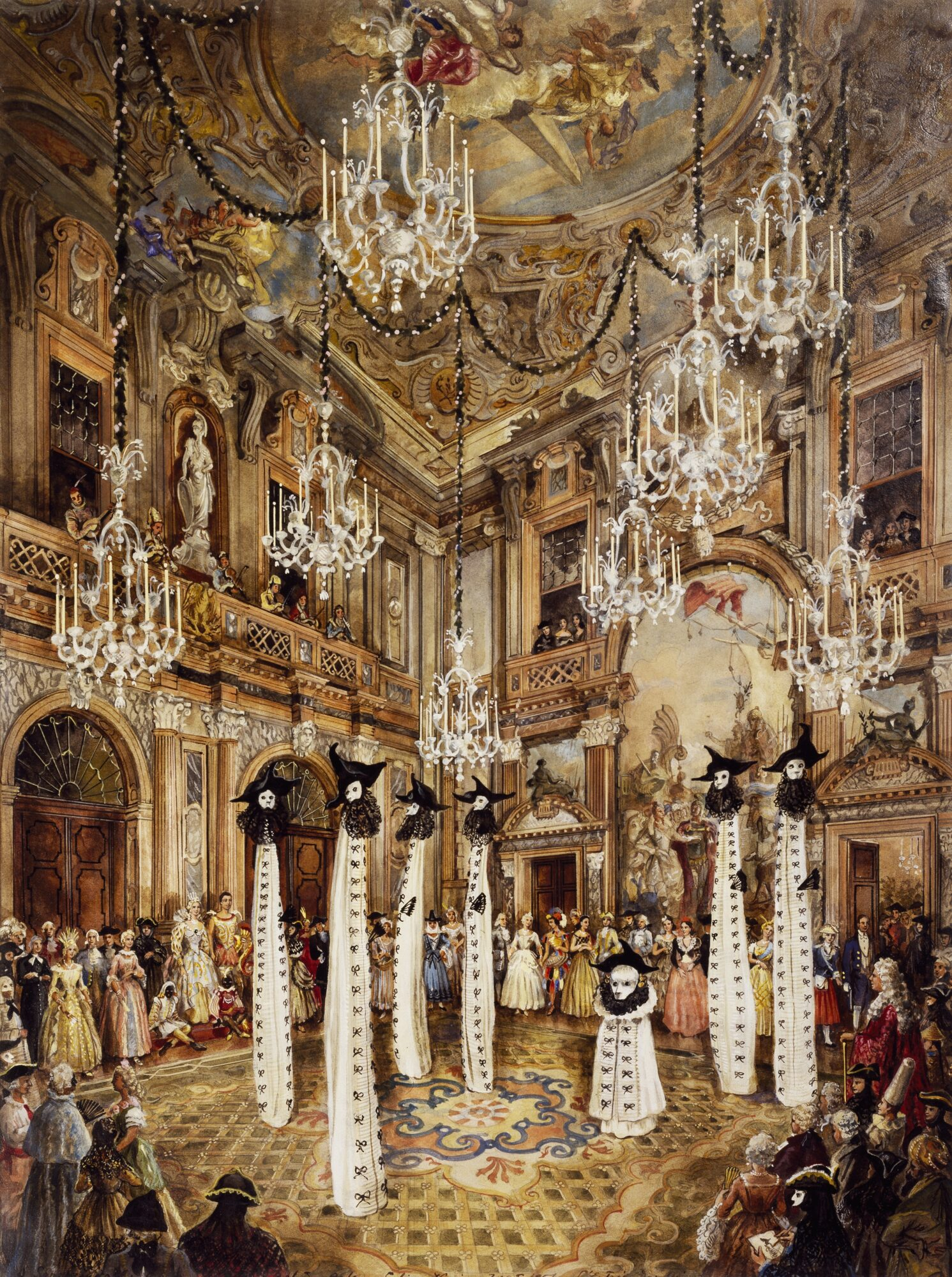 Alexandre Serebriakoff, Entrance of the ghosts of Venice during a fancy dress party, in 1951 by Charles de Beistegui in Palazzo Labia, watercolour / Agefotostock